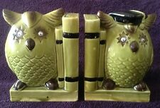 Vintage Owl Bookends Ceramic Japan Wiggle Eyes Avacado Green Retro Books Wise