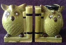 Vintage Owl Bookends Ceramic Japan Wiggle Eyes Avacado Green Retro Books Wise EC