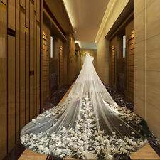 Long 3D Applique White Soft Tulle Cathedral Bridal Veils Luxury Long Veil 2016