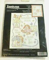 Janlynn Baby Birth Sampler Counted Cross Stitch Sleepy Bunnies 11 x 14 New
