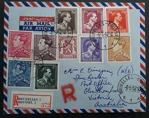 SCARCE 1952 Belgium Registd Cover ties 10 stamps canc Brussels to Australia