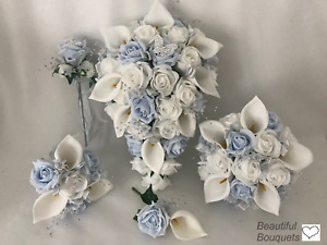 Wedding bouquets flowers baby blue posy brides buttonholes bridesmaid calla lily