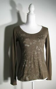 Lucy women's Size Small Green Pima Cotton Garden Print Scoop Neck Long Sleeve
