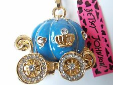 Betsey Johnson Cinderella Halloween Pumpkin Carriage Necklace in Blue & Gold