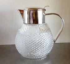 Vintage Hob Nai,l Cut Glass & Silver Metal Pitcher w/Ice Insert