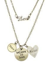 Love Peace Believe in Love Amour Double Necklace