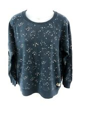 JACK WILLS Womens Jumper Sweater 14 Blue White Cotton Stars & Moon Design