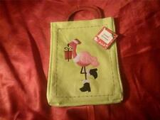 HOT PINK FLAMINGO BAG, TOTE, PARTY PURSE, GIFT BAG LIME GREEN WITH PINK DESIGN