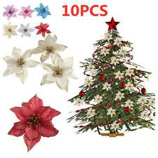 10Pcs Bling Glitter Artificial Christmas Flower Wedding Party Xmas Tree Decor