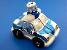 MINI POLICE CAR  EUROPEAN BLOWN GLASS CHRISTMAS TREE ORNAMENT POLIZEIAUTO