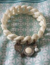 MIMCO White Silver Plastic/rubber Stretch Cuff Bracelet Bangle