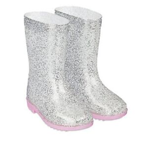 MOTHERCARE Girls Wellies Baby Pink Sparkly Rubber Wellington Boots Waterproof