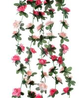5pcs Artificial Silk Rose Flower Vine Leaf Garland Rose Vine 2.4M/7.9 inches