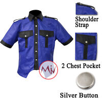 Men Leather Shirt Half Sleeves Black Blue Color Shirt Police Uniform Style