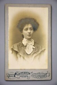 Early Photography CDV, Studio Portrait Lady in Neck Tie, Birmingham/Leicester