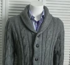 NEW Mens SZ 2XL ALPACA Light Gray Shawl Collar Cable Cardigan Knit Sweater PERU