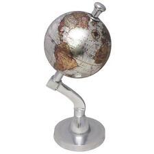 """SiL 4"""" Globe Terrestre Style Vintage Décoration Ornement chromé fixations"""