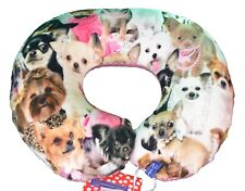 cruasán de cuello cojín de viaje adultos con perros chihuahua ROSA colorida