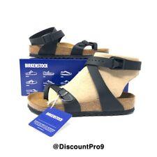 Birkenstock Yara Black Birko-Flor Leather Sandals Women's Size 37 (US 6-6.5)