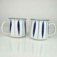 "Set of 2 Japanese Tea Coffee Cup Mug 3.5""H Ceramic Blue White Tokusa Line Japan"