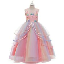 Girls Unicorn Mesh Tutu Princess Dresses Party Formal Fancy Dress Kids Xmas Gift