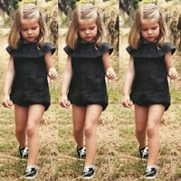 US Stock Toddler Baby Girls Kids One-piece Outfit Bodysuit Romper Summer Clothes