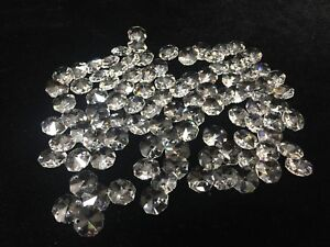 100 Swarovski Strass Crystal Octagonal Chandelier Bead Lamp Parts, 1 Hole, 14 mm