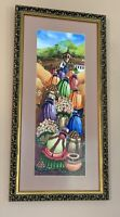 Vintage South American Original Oil Folk Art Market Day Festival Celebration