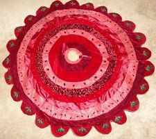 """Red Velvet  Christmas Tree Skirt with Holly Leaf Edges 56"""" Beautiful Detailing"""
