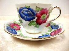 SALISBURY BONE CHINA ICELAND POPPY PINK & BLUE FLOWERS TEA CUP & SAUCER ENGLAND