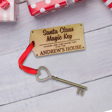 Personalised Santa Key Tree Christmas Wooden Magic Ornament Xmas Gift Custom