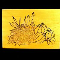 Thanksgiving WM Rubber Stamp  Arizona Stamps Too  Fall Pumpkins Harvest Cattails