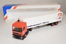 ± LION CAR DAF 95 TRUCK WITH TRAILER HUYBREGTS TILBURG KOELTRANSPORT NM BOXED