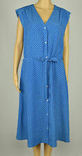 Tommy Hilfiger Womens Blue White Polka-Dot Printed Belted Shirt Dress XL