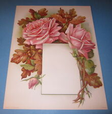 Old Vintage 1910 Antique VICTORIAN PRINT  ROSE FLOWERS w Frame for Menu or Photo