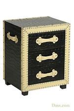 MOC Croc Black & Cream Metal Studs 3 Drawer Bedside Cabinet 47 X 38 X 60cm Dusx