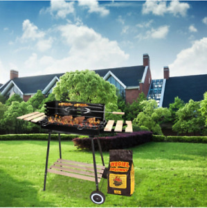 Charcoal BBQ Grill Barbecue Portable Outdoor with BBQ and Shelfs Black Steel