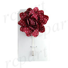 New formal Men's Suit brooch burgundy white polka dots fabric flower lapel pin