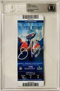 NE Patriots Julian Edelman Signed MVP Super Bowl LIII Ticket Beckett BAS Seat 14