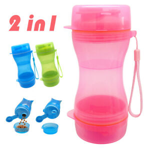 Portable Pet Dog Water Bottle and Food Container Feeder 2 in 1 Outdoor Travel