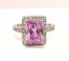 NEW NWT HUGE EMERALD CUT AMETHYST STERLING SILVER CZ HALO ENGAGEMENT RING 8