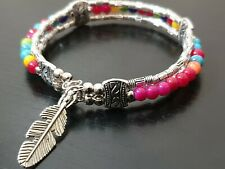 American Indian style beaded feather bracelet rainbow