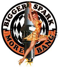 Waterslide Decal Sticker Sexy Pinup Girl Spark Plug Racing More Bang