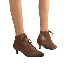 44/46 Women Smart Office Casual Work Comfy Pointy Toe Kitten Heel Ankle Boots D