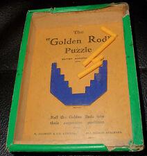 Vintage Antique Dexterity Puzzle, Golden Rod, R. Journet & Co.