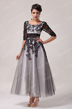 Masquerade Black Lace Ball Gown Bridesmaid Prom RETRO Dress Evening Party 6-26