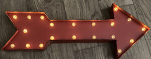 """32"""" DECO Rustic Metal 50's Industrial LIGHTED ARROW Marquee  Wall Sign ONE WAY!"""