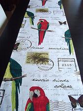 Tischläufer Papagei Leinen ca.166x40 cm Argentinien Bolivien Schrift Postkarten
