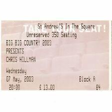 CHRIS HILLMAN Concert Ticket Stub GLASGOW SCOTLAND 5/7/03 UK THE BYRDS