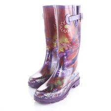 Chooka Tall Waterproof Rubber Rain Boots Peace Love Purple Red Womens 7